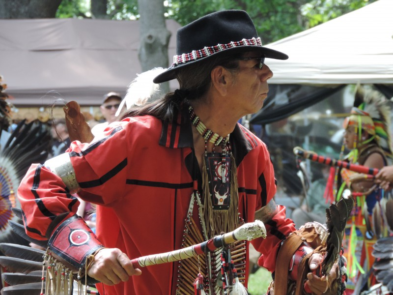 A Native dancer holds a traditional drumstick at the Tyendinaga Pow Wow.