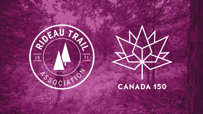 A purple tinted graphic with a photo of a forest in the background. The Rideau Trail Association and Canada 150 logos are in the foreground.