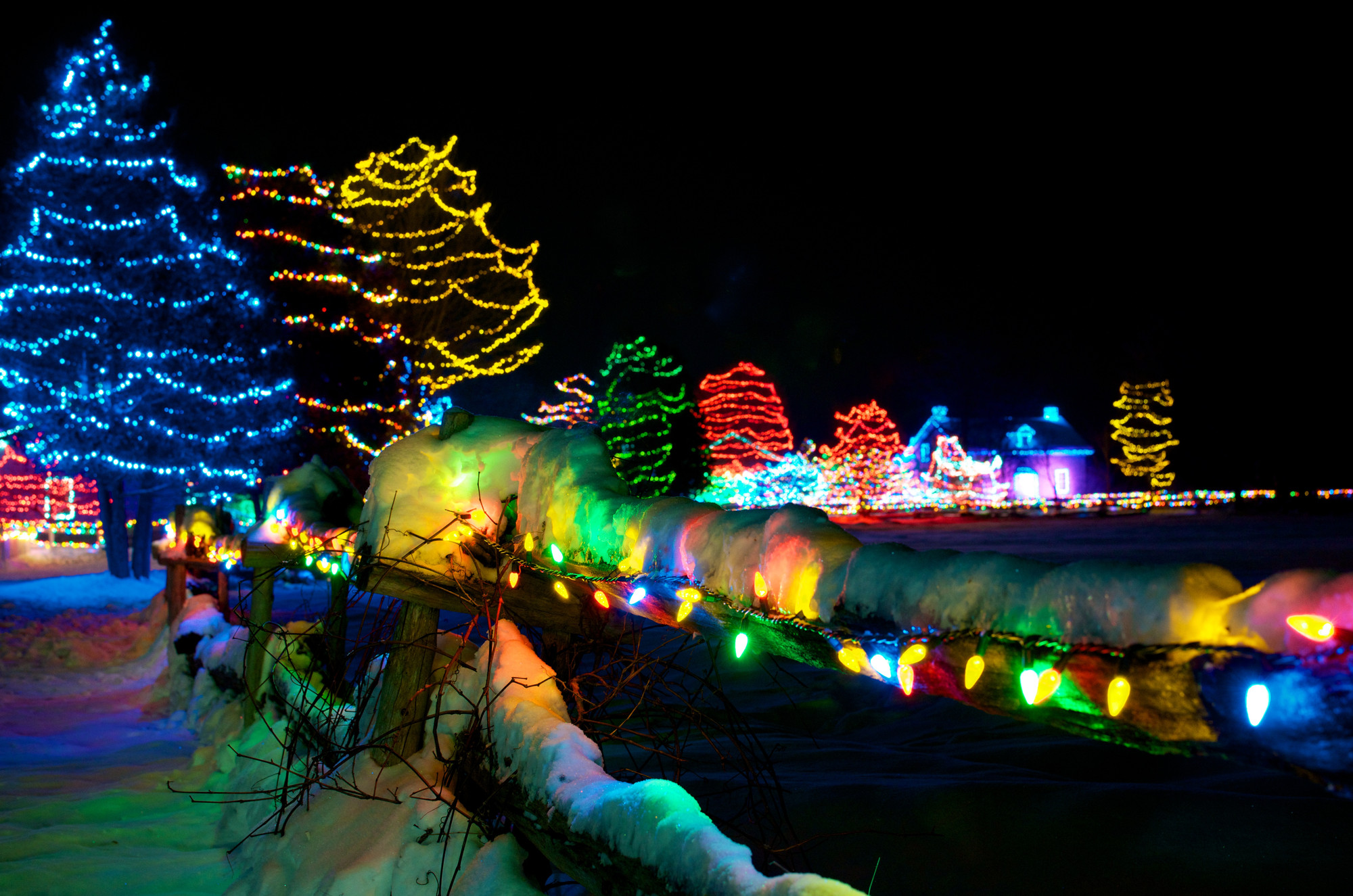 Upper Canada Village's heritage buildings, trees and fences will be lit up for the 14tannh ual Alight at Night festival this December and January. (The Great Waterway)