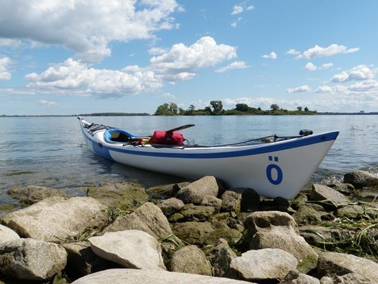 Sea kayak on rocky shoreline of McDonald Island, Long Sault Parkway, Ontario