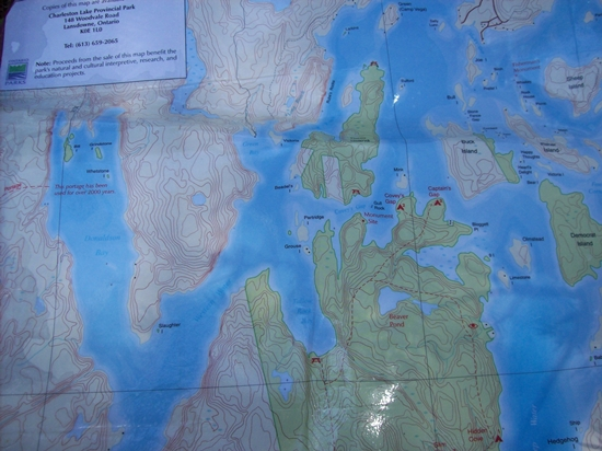 Snapshot of a section of the Charleston Lake Provincial Park topo map