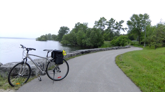 Bicycle parked along Waterfront Trail, Belleville, Bay of Quinte