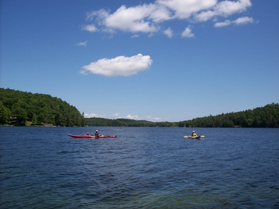 Two kayaks on Charleston Lake