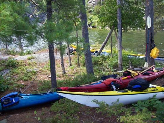Kayaks parked on wooded shoreline of Charleston Lake