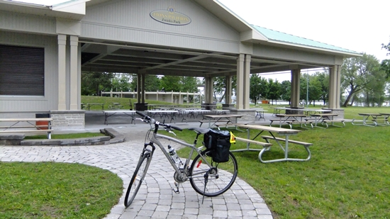 Bicycle parked next to Zwick's Park pavilion