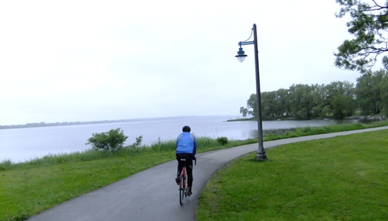 Cyclist on Waterfront Trail, Bay of Quinte