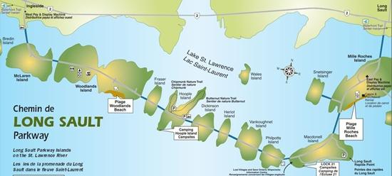 Long Sault Parkway map, 11 islands